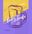 its beer time hand lettering poster illustration vector image