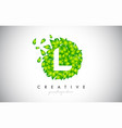 l green leaf logo design eco logo with multiple vector image