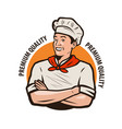 logo chef funny cook in a hat vector image
