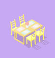 low poly isometric dining table with chairs vector image