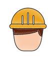 man worker cartoon people character head vector image vector image