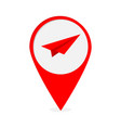 map pointer with origami paper plane icon red vector image