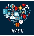 Medical symbols poster in heart shape vector image vector image