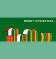 mery christmas flat cartoon open gift box banner vector image