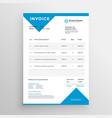 minimal blue invoice template design vector image vector image