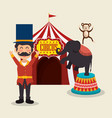 monkeys and elephant circus show vector image