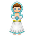 muslim girl praying with wearing blue veil isolate vector image vector image