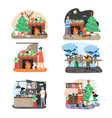 new year and christmas scene set flat vector image vector image