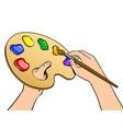 palette with paints in artist hands pop art vector image vector image