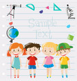 paper design with kids and science equipment vector image