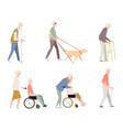 people are disabled on the street pensioners on a vector image