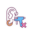 piercing ears at home rgb color icon vector image vector image