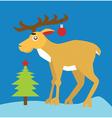 Reindeer and Christmas tree vector image vector image