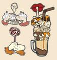 set fashion food badge in surrealism hand vector image
