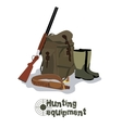 set military hunting equipment with rifle vector image