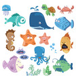 set of cartoon fish collection of funny baby fish vector image vector image