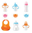 set of different baby bottles vector image