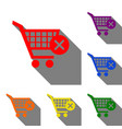 shopping cart with delete sign set of red orange vector image vector image