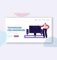 smart tv technologies website landing page woman vector image vector image