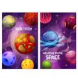 space fantasy cartoon galaxy planets universe sky vector image