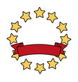 stars round emblem frame vector image