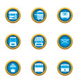 street stall icons set flat style vector image vector image
