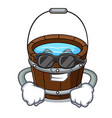super cool wooden bucket character cartoon vector image vector image