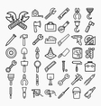 Tools and Equipment icons Set on white background vector image vector image