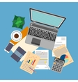 top view workplace with documents and laptop vector image vector image