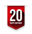 Twenty years happy birthday ribbon vector image vector image