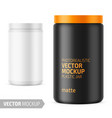 white matte plastic jar with lid for powder vector image vector image