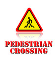 yellow warning pedestrian crossing icon background vector image