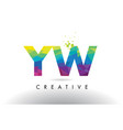 yw y w colorful letter origami triangles design vector image vector image
