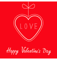 Hanging red heart with bow Happy Valentines Day vector image