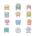 Colorfull armchairs isolated icons set vector image