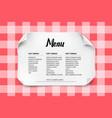 cafe or restaurant menu design with curved paper vector image