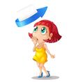 a girl an arrow and envelop vector image vector image