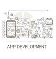 App Development Process Elements Creative Sketch vector image