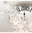 beige 2019 new year background with clock vector image vector image