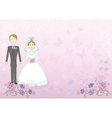 bride and groom on pink floral background vector image