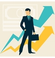 Businessman and growing statistics vector image
