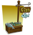 cartoon fish vendor booth market wooden stand vector image vector image