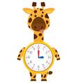 cartoon giraffe on clock template vector image vector image