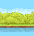 cartoon river bank with dense bushes vector image