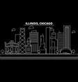 chicago silhouette skyline usa - chicago vector image vector image