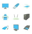 Computer setup icons set cartoon style vector image vector image