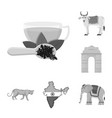 country india monochrome icons in set collection vector image vector image