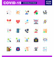 covid19-19 icon set for infographic 25 flat color vector image vector image