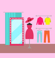 different clothing in cozy market color banner vector image vector image