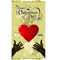 Fall in love Valentines day heart hands vector image vector image